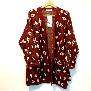 ZARA Wool Mohair Sweater Cardigan M L Leopard